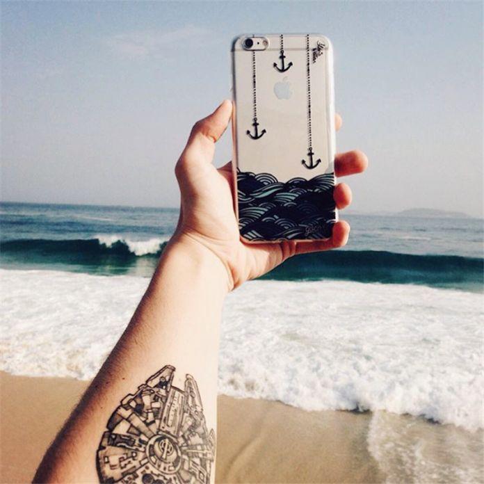 Новый Ультра Тонкий Якорь Море Музыки Перо Дизайн Прозрачный Мягкие TPU Телефон Case Коке Для iPhone SE 5S 6 6 S 7 6 Плюс Обложка Мода