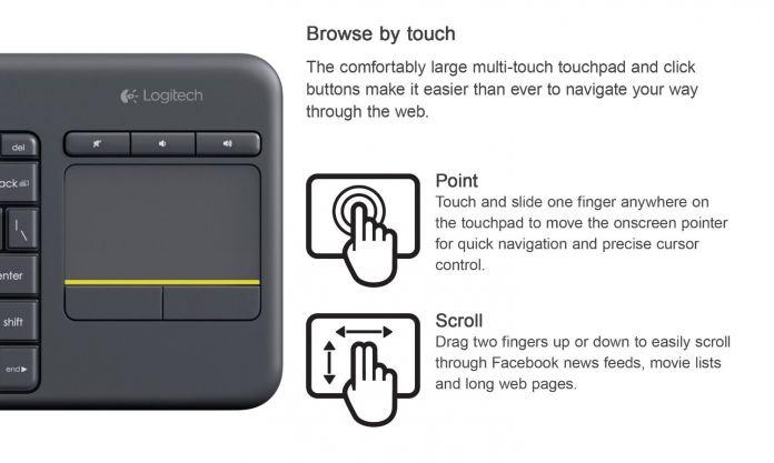 Logitech Wireless Touch Keyboard K400 Плюс со Встроенным Тачпадом для Подключенных К Интернету Телевизоры