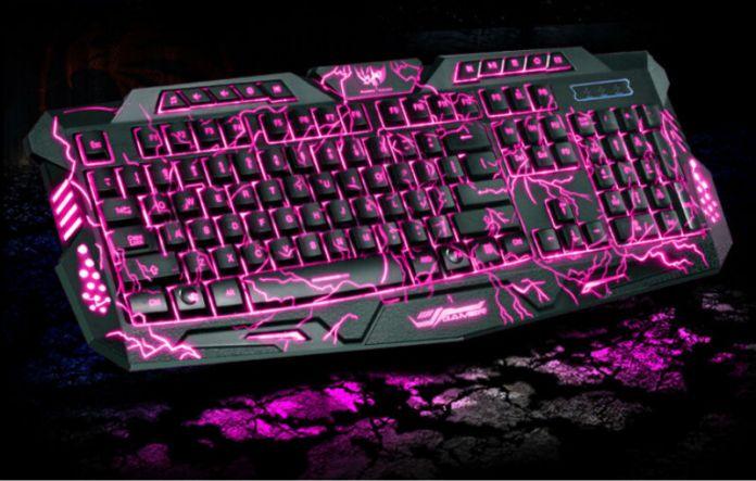 2016 новые красные / фиолетовый / синий подсветки профессиональный игровой клавиатуры компьютерной клавиатуры для Dota2 лол из светодиодов игровой клавиатурой с подсветкой