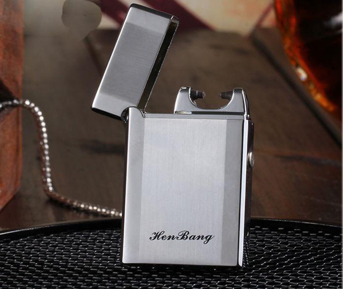 Электронная зажигалка ветрозащитный ультра-тонких металл импульсов USB аккумуляторная непламено электрическая дуга сигары прикуривателя
