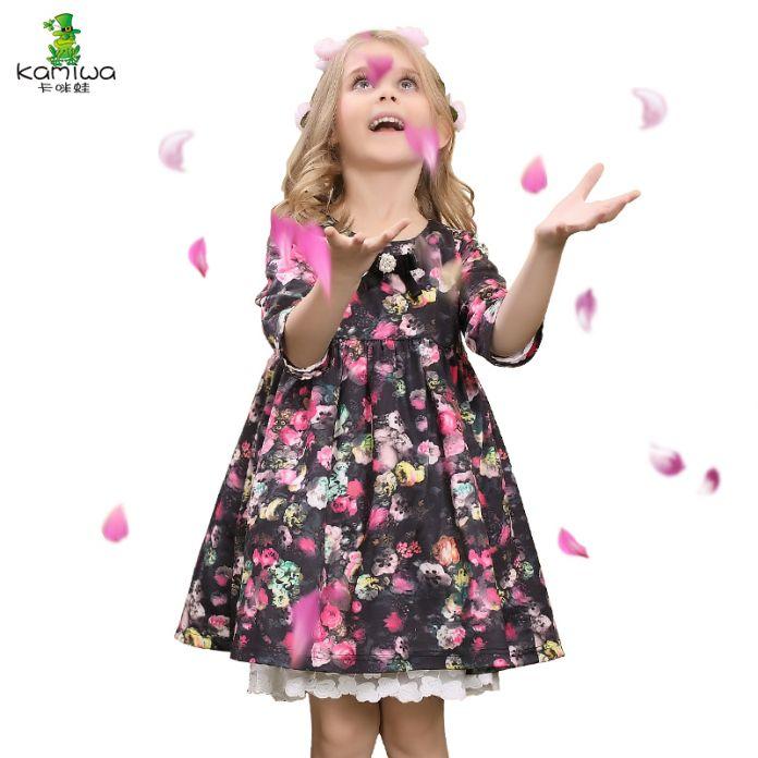 KAMIWA 2016 Цветочный Принт Маленькая Птица Кружева Новорожденных Девочек Платья Осень Цветок Принцесса Партии Малышей Детская Одежда Детская Одежда