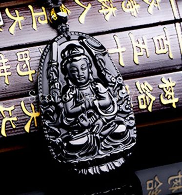 Высокое Качество Натуральный Черный Обсидиан Резные Будда Лаки Амулет Кулон Ожерелье Для Женщины Мужчины подвески Ювелирных Изделий Нефрита 48*32 мм