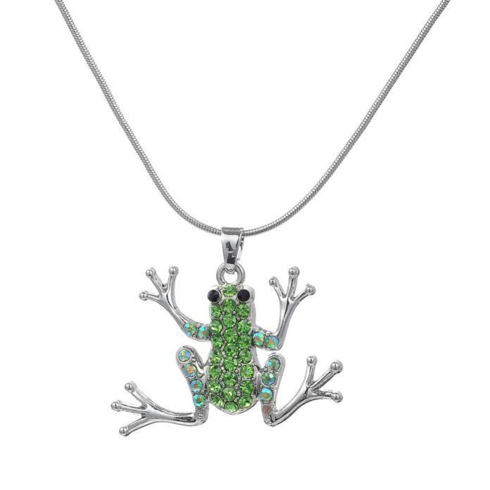 Посеребренная Зеленый Кристалл Камень Лягушка Шарм Себе Ожерелья & Подвески Цепи Змейки для Женщин Способа Boho Ожерелье