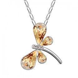 Австрия кристалл стрекоза ожерелье посеребрение цепочка звеньевая ожерелье для женщины девочки ну вечеринку ювелирные изделия
