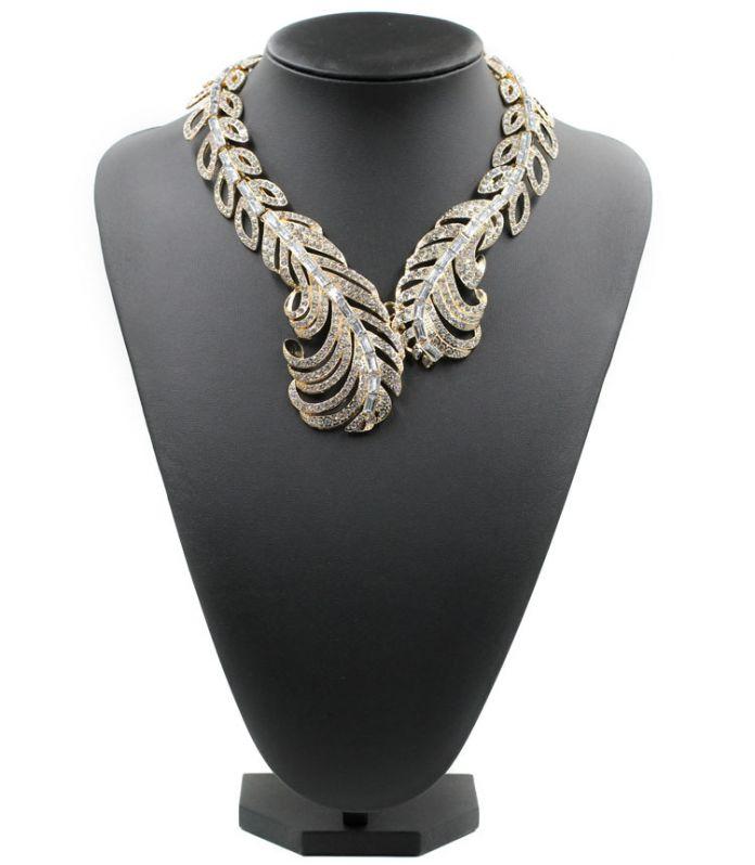 2016 Новый перо ожерелья & подвески моды роскошь колье дизайн нагрудник кристалл кисточкой ожерелье заявление ювелирных изделий