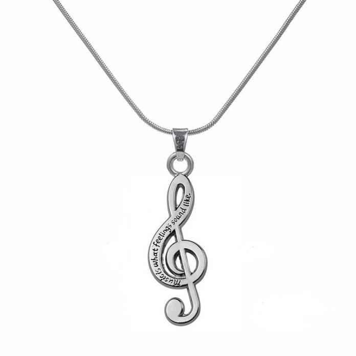 Art Attack Вороненый Посеребренная Скрипичный ключ Музыка, Какие Чувства Походите Любовника Кулон Подарок Ожерелье