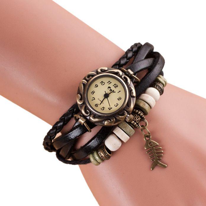 Великолепный BlackLeather Браслет Часы Высокого Качества Античная Женщины Наручные Часы Повседневная Кварцевые Часы Женские Часы Relogio женщина для