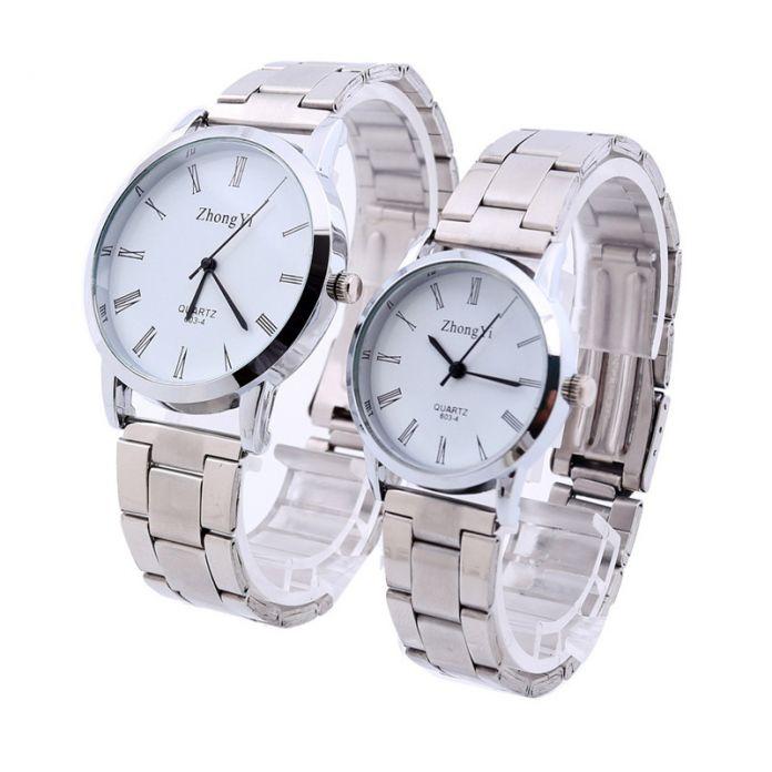 Мода Мужчины Женщины Пара Серебряные Часы Из Нержавеющей Стали Аналоговые Кварцевые Наручные Часы женские мужские Часы Бизнес Часы Reloj