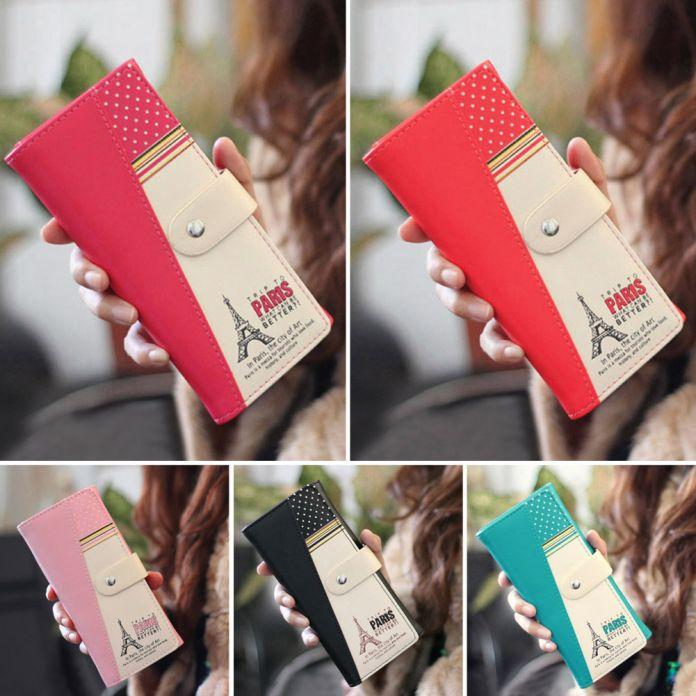 2016 Горячих женщин ПУ конверт клатч длинный кожаный Бумажник Дамы дизайнер Кошелек Чековая Книжка Сумочка