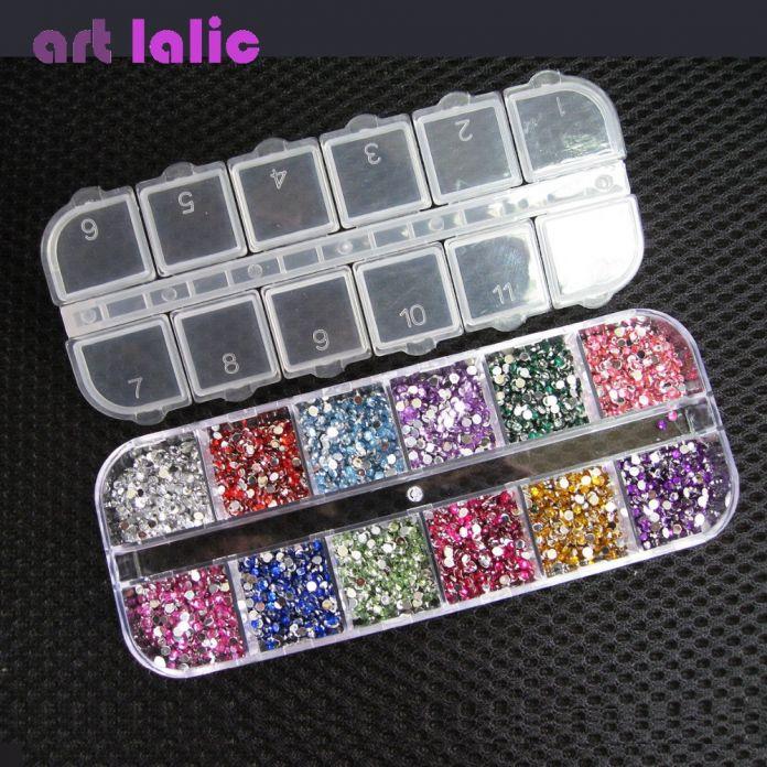 Бисер для дизайна ногтей (3000 шт. 12 цветов, 1.5 мм)