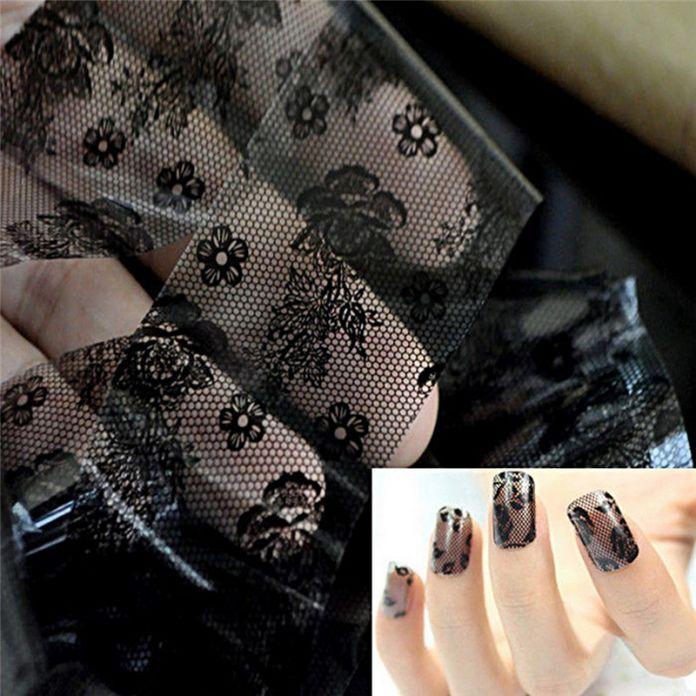 Высокое качество 1 шт. 3D черное кружево ногтей фольга наклейки-цветок ногтей переводные картинки советы маникюрный инструмент популярные