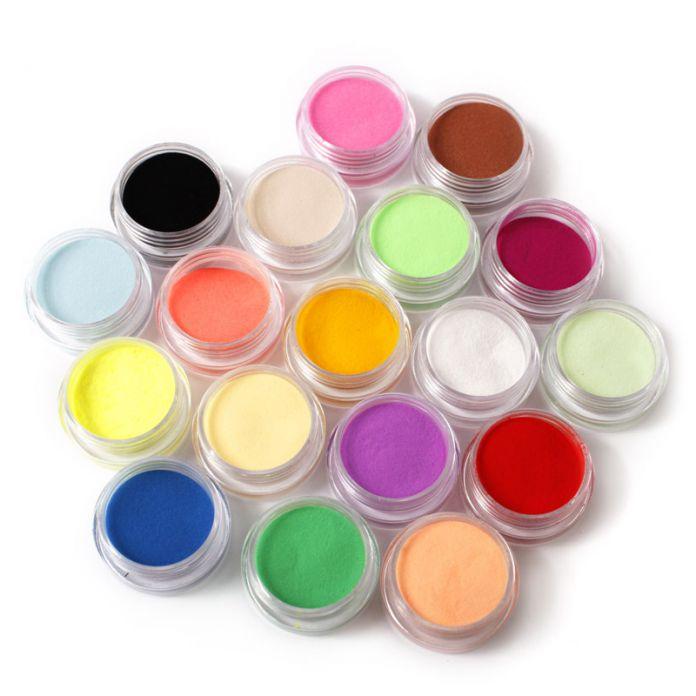 Ногтей порошок 18 цветов акриловый маникюр советы уф-гель порошок пыли дизайн 3D украшения маникюр M01202