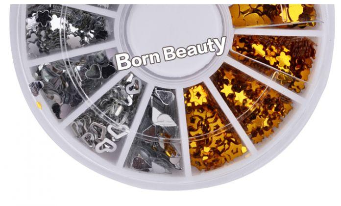 Новый Золото Серебро Сердца Teardrop Mix Дизайн Ногтей Шпильки DIY Nail Art Советы Украшение Колеса