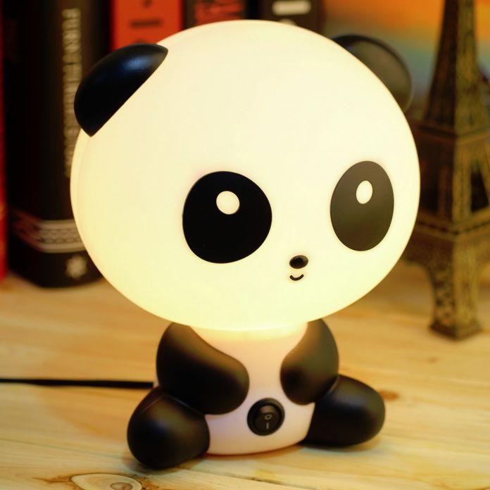 Оптовые Симпатичные Панда Мультфильм животных ночник, Дети Кровать Стол настольные Лампы Ночь Спящая ночь светодиодные лампы Подарок