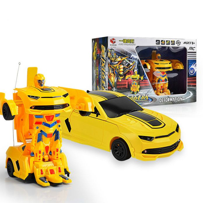 Дети Зарядки Дистанционного управления деформации робот автомобиль 4Ch rc преобразования автомобиля Шмель один ключ модификация мальчик игрушки