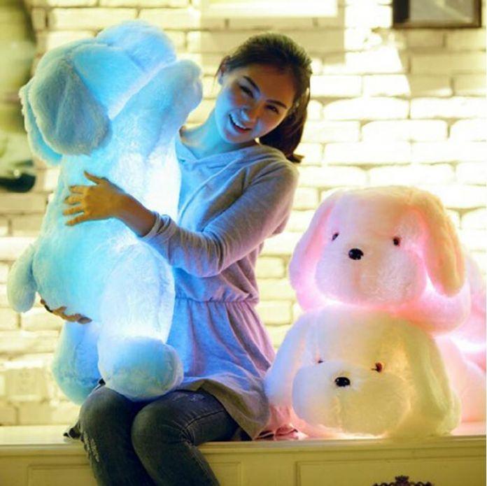 50 см Красочные СВЕТОДИОДНЫЕ Светящиеся Собаки Светящиеся Плюшевые Детские Игрушки Для Девочки, Ночь Собака Чучела Плюшевые Игрушки Для Детей игрушки