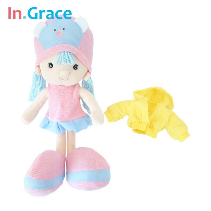 В. Грейс мода подарки для девочек детей мягкая красивые куклы розовый большой головой 14 дюймов куклы 100% пп хлопка ручной куклы