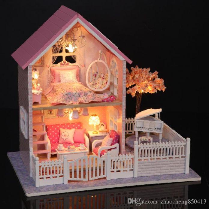 Ручной работы Кукольный Дом Мебель Миниатюрный Кукольный Домик Миниатюре Diy Кукольные Домики Деревянные Игрушки Для Детей Взрослые Подарок На День Рождения A036