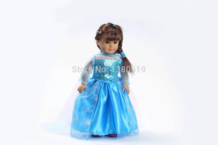 """Бесплатная доставка! Горячая 2014The новый снег и лед цвета Новый стиль популярные 18 """" американская девушка одежды куклы / платье w123"""
