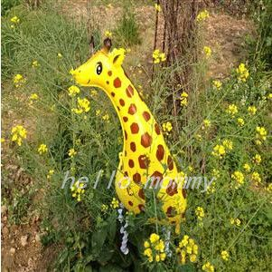 1 шт. симпатичные большой прогулки жираф майларовый фольга шар зоопарк джунгли ну вечеринку декор дети дети польза детей детская комната декоры животных
