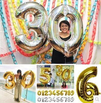 Горячая Sale1pcs/lot Золото/серебряная фольга шар оптовая 30 inch день рождения 0-9 Номер алюминиевый шар день рождения воздушный шар украшения
