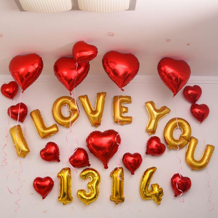 Новый 2016 Горячая 32 дюйма Золото Количество Шар Алюминиевой Фольги Гелиевые Шары День Рождения Свадьба Украшения Праздничные Поставки