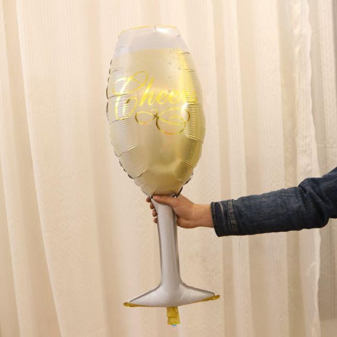 УРА ШАМПАНСКОГО Бутылку И Стакан, Воздушный Шар Фольги в Канун Нового года декор Photo Booth Опора Золото и Шампанское Фон Pop Звон Fizz