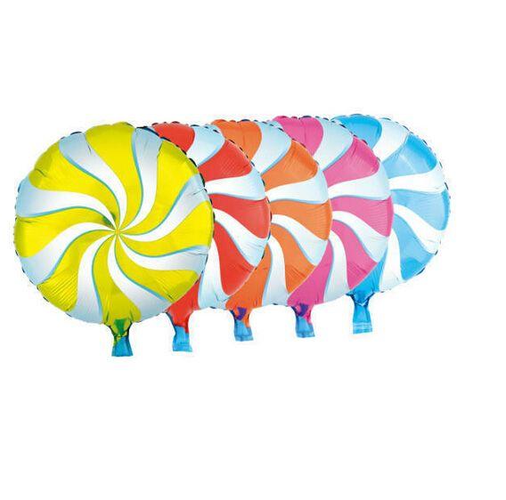 1 шт. 18 дюймов конфеты форма шар леденцы свирль свадьба фольги ну вечеринку игрушки для маленьких детей, Надувные печатных шар