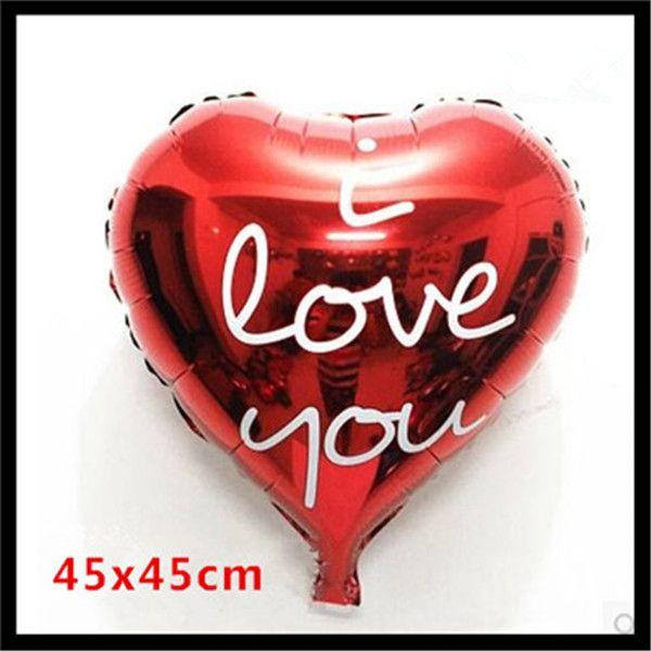 1 шт. 18 inch Воздушный Шар Фольги Красный Форме Сердца I love you Воздушные Шары День Рождения/Новый Год/Свадьба украшение Шар