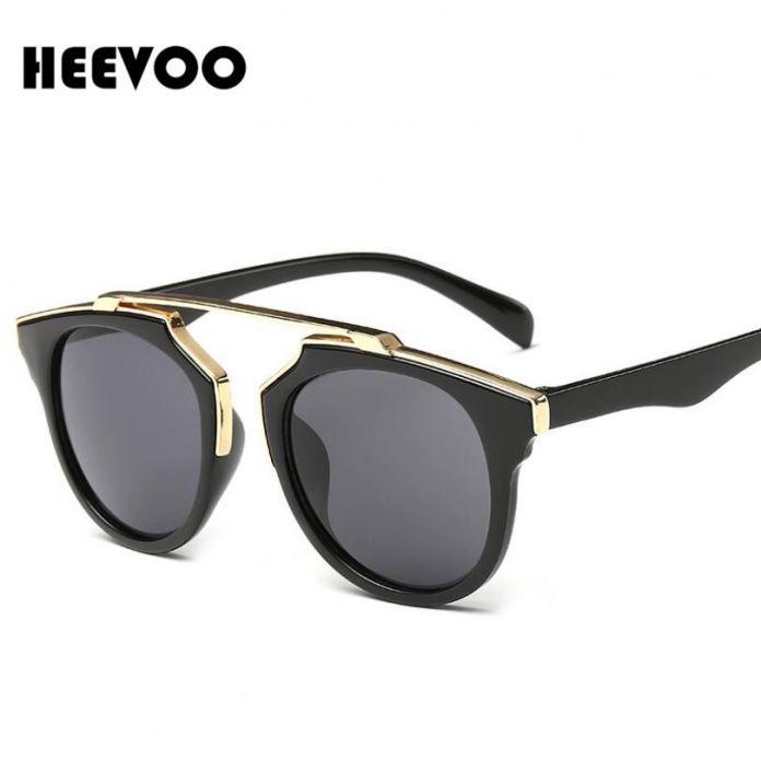 HEEVOO 2016 Высокое качество женщины марка дизайнер круглые солнцезащитные очки зеркальные очки кошачий глаз очки
