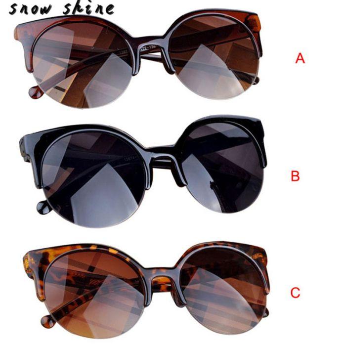 Snowshine 3001xin Vintage Солнцезащитные Очки Cat Eye Полуоправе Круглые Солнцезащитные Очки для Мужчин Женщин Солнцезащитные Очки бесплатная доставка