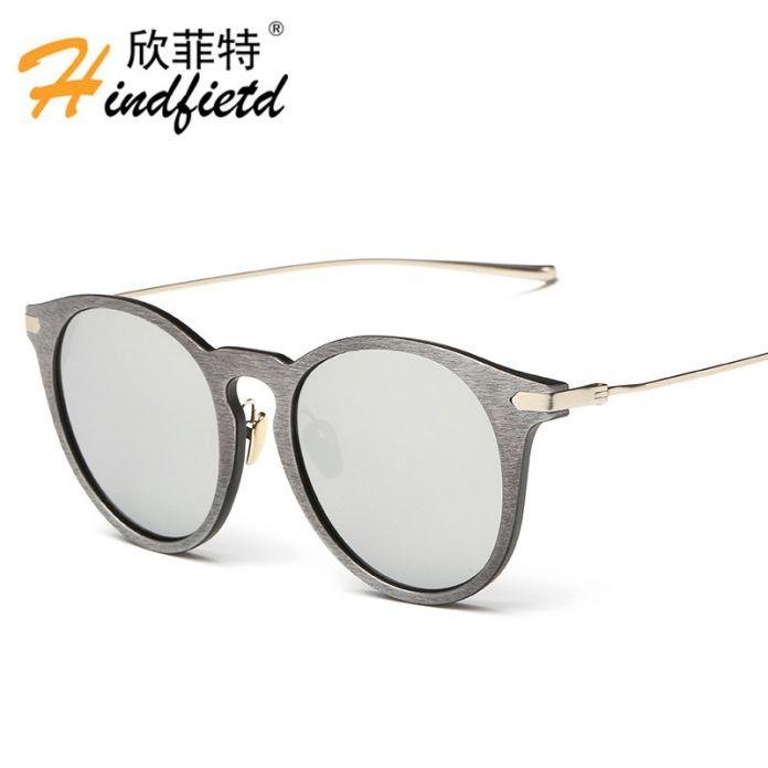 Деревянный стиль солнцезащитные очки эксклюзивная модная марка дизайнер ретро круглый солнцезащитные очки brillen зеркальные Очки Очки прохладный