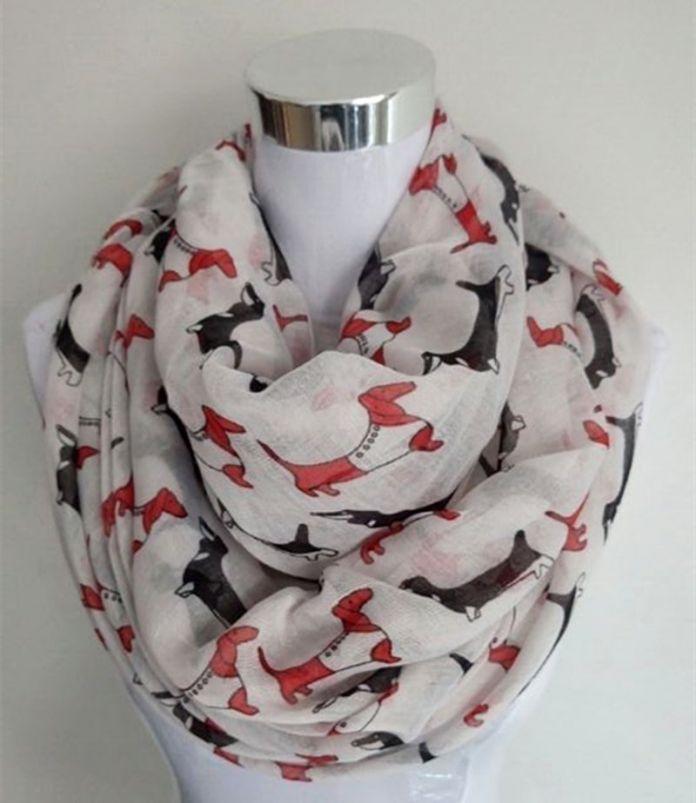 2016 Новое Прибытие Мода животных шарф Собака такса дамы бесконечность шарфы Mix 13 Цвет Пашмины женщин шарфы