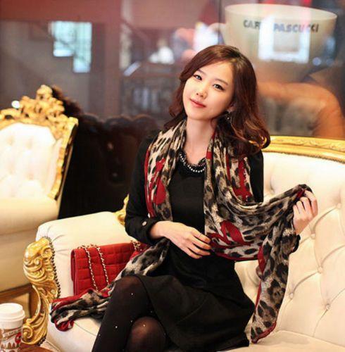 1 Шт Красный Леопард Стильный Длинный Мягкий Шелковый Шифон Шарф Wrap Шаль Шарфы Для Женщин Lady Девочек