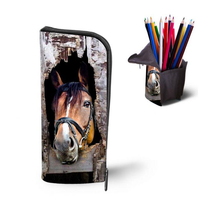 Мода Crazy Horse Печати Пенал Многофункциональный Косметические Случаи Мальчики Канцелярские Мешок Ручки Школьные Принадлежности Девушки Pencilcase