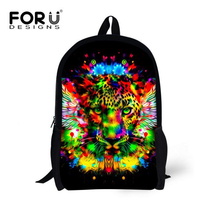 Черный 3D Животных рюкзак Леопард Тигр Глава Печать Рюкзак Дети Школьный Рюкзак для Подростка Мальчиков для Детей Рюкзак