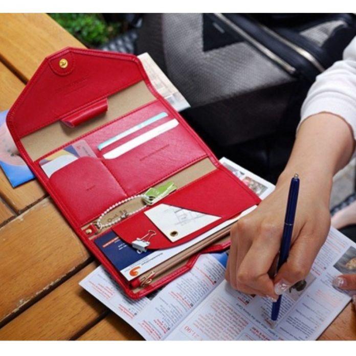Мода несессер Владельца паспорта Отключения Бумажник Карты Пакет Многофункциональный женщины сумка Конверт 3 Складной Чековой Книжки