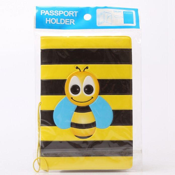 2016 Новый 3D PU & ПВХ Обложка Для Паспорта ID Кредитных Карт Обложка Визитная Карточка ID Держатели Для Путешествий Животных Желтый пчела Pattern