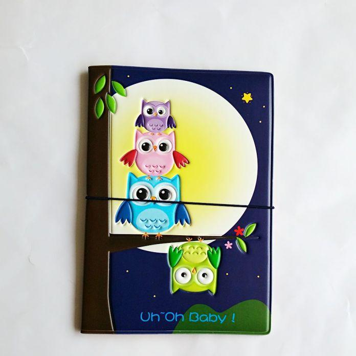 Мультфильм сова владельцем паспорта удостоверение личности 3D дизайн пвх кожа визитная карточка сумка обложка для паспорта 14 * 9.6 см