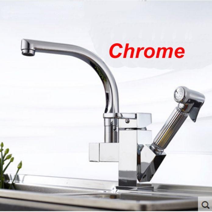 Chrome Смеситель Для Кухни Латунь Pull Out Опрыскиватель Сосуд Бар Раковина Кран Одной Ручкой Смеситель Кран