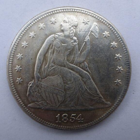 Freeshipping 1854-p СИДЯЩАЯ LIBERTY СЕРЕБРЯНЫЕ ДОЛЛАРЫ латунь один доллар монеты