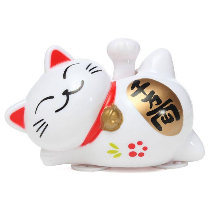 Белый ABS Солнечный 4 Дюймов 1/3 Дюймов Maneki Neko Приветствуя Lucky Призыва Фортуна Cat Главная Отель Ресторан Декор Ремесло