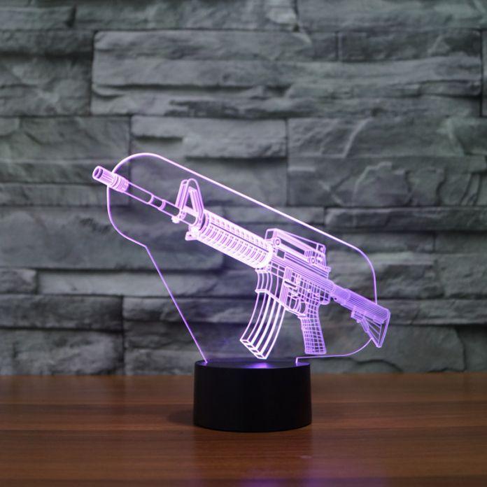 2016new Приходят 3d Красочные Цвета Свет AK47 Пистолет Сенсорный Свет Атмосфера Подарок Украшение Лампы Главная Decration Аксессуары