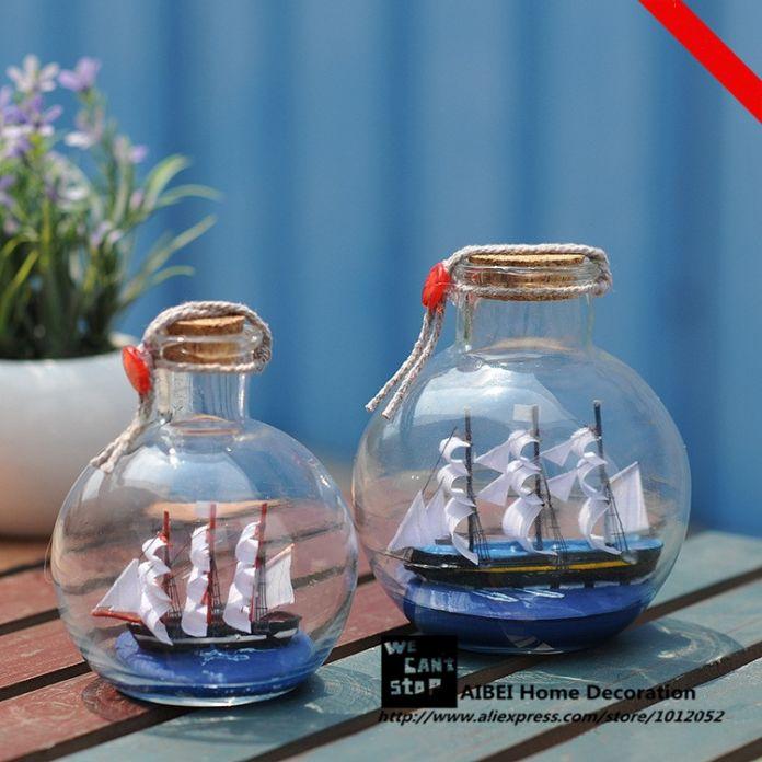 11 СМ в Средиземноморском Стиле Парусная Лодка Дрейф Бутылки 1 ШТ. Пиратский Корабль Стекла Желающих Бутылка Небольшие Пробки Подарки Ремесел