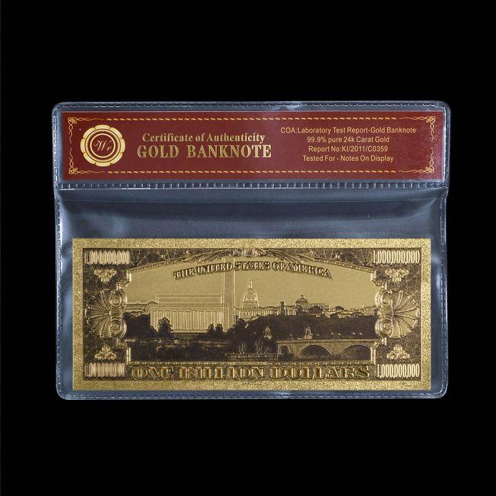 Американский Цвет Банкноты $1 Золотая Фольга Поддельные Деньги Валюта Покрытием Золото Для Коллекции