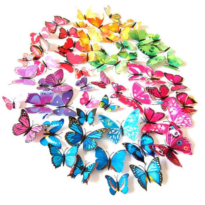 12 шт./Горячие 3D Бабочки Магниты На Холодильник Home Decor Холодильник Наклейки Рождество Свадебные Украшения Окружающей Среды