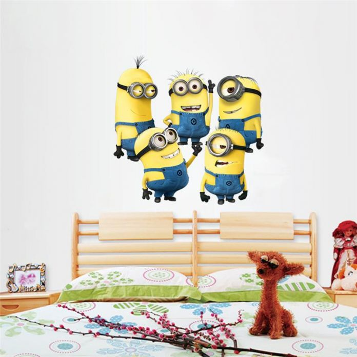 Миньоны фильм стены стикеры для детская комната украшения дома 1404. diy пвх мультфильм наклейки дети подарочные 3d росписи искусства плакаты 3.0