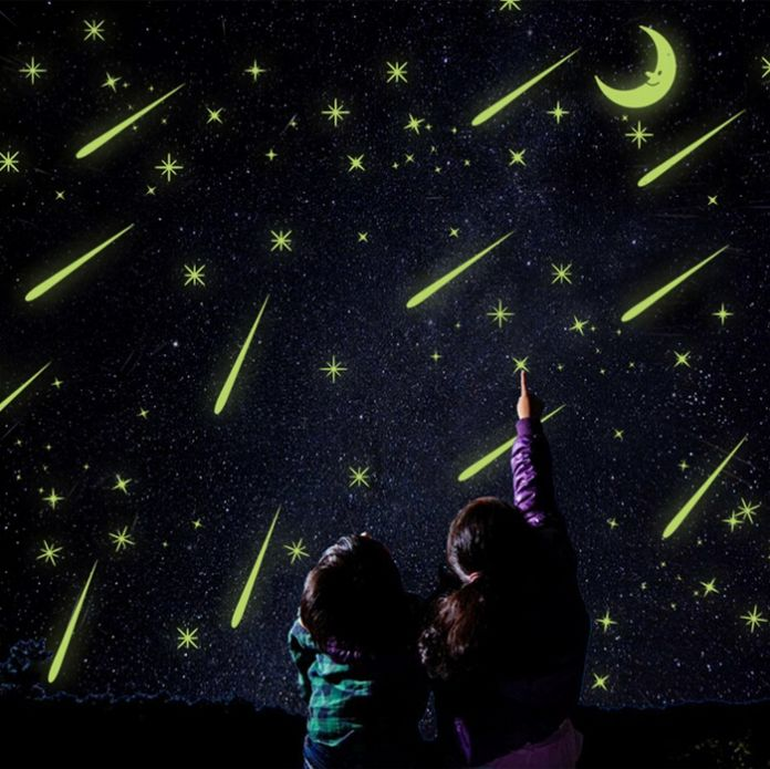 20 * 25 см ночник светящиеся наклейки домашнего декора предметы интерьера стикер дети номера луна и звезды функции-звездное ночное небо Y0037