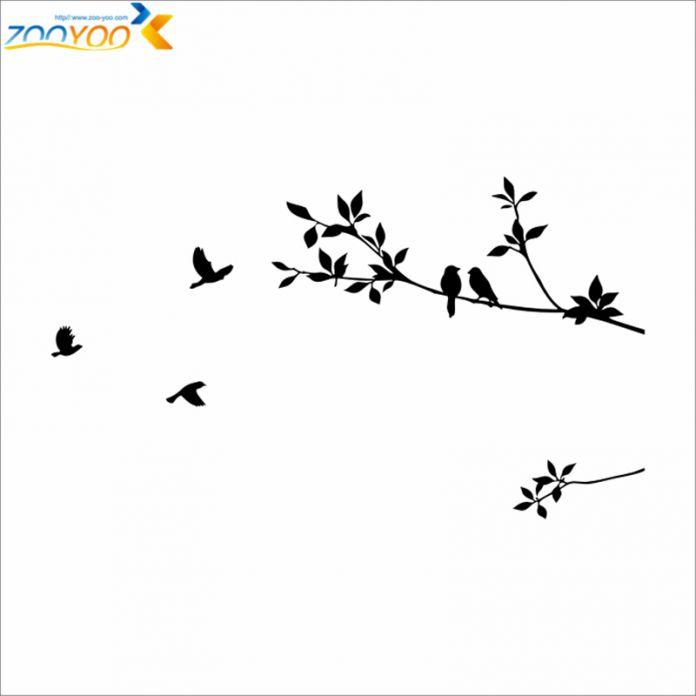 Птицы на ветви дерева стены наклейки zooyoo8171 декоративные наклейки стены спальни искусство классическая черный съемный виниловые наклейки птиц