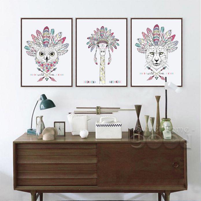 Индийский Животных Арт Принт Плакат, лошадь Зебра Стены Картины Холст Картины, Native American Home Decor DE001 & 2 & 3